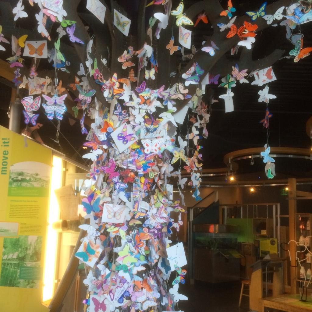 紙に書いてある蝶々を色ぬりして木に飾れる