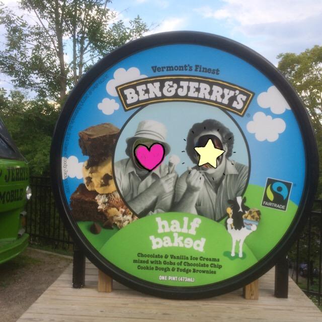 アイスクリームの蓋の顔出しパネル